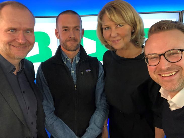 Boligbobla episode 18. Fra venstre: Heninng Lauridsen (Eiendom Norge), Andreas Martiniussen (Fredensborg Fritid), Hanne Alstrup Velure (USS og Høyre) og Erik Lundesgaard (Eiendom Norge).