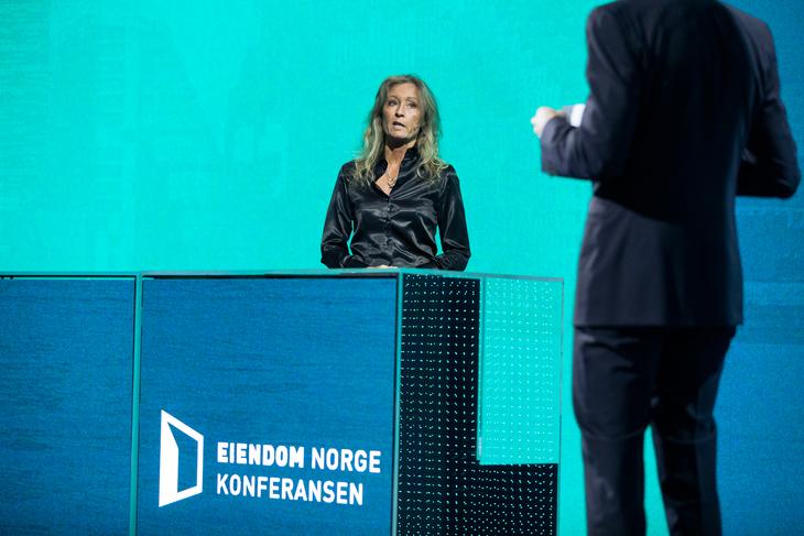 Styreleder i Eiendom Norge, Grethe Meier under Eiendom Norge konferansen 2021. Foto: Johnny Vaet Nordskog.