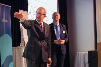 Fra venstre: Administrerende direktør Idar Kreutzer (Finans Norge) og administrerende direktør Henning Lauridsen (Eiendom Norge). Foto: Peder Tollersrud.