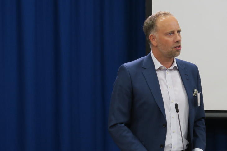 Christian Vammervold Dreyer under høringsmøte om endringer i avhendingslova 23. august 2018. Foto: Erik Lundesgaard.