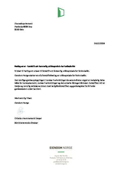 Høringssvar- forskrift om forsvarlig utlånspraksis for forbrukslån