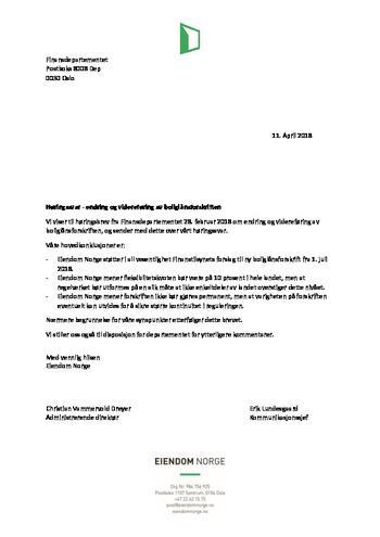 Høringssvar boliglånsforskriften