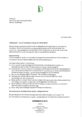 Høringssvar fra Eiendom Norge Eierseksjonloven