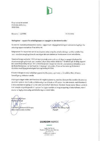 Høringssvar- rapport fra arbeidsgruppe om oppgjør av eiendomshandler