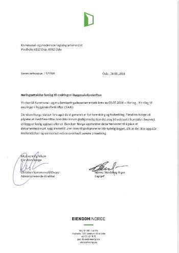 Eiendom Norges høringssvar