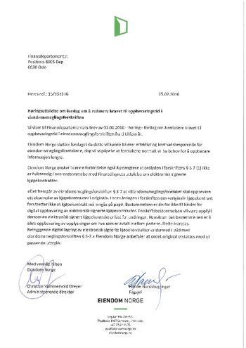 Høringssvar - Oppbevaringstid eiendomsmeglingsforskriften