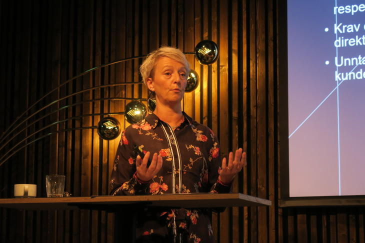Forbrukertilsynets direktør Elisabeth Haugseth forteller de fremmøtte om sin nye veileder. Foto: Peder Tollersrud.
