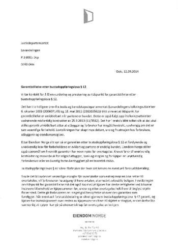 Høringssvar - Garantistillelse etter bustadoppføringslova § 12