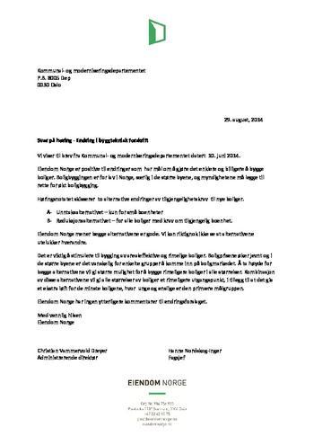 Høringssvar til KMD byggteknisk forskrift