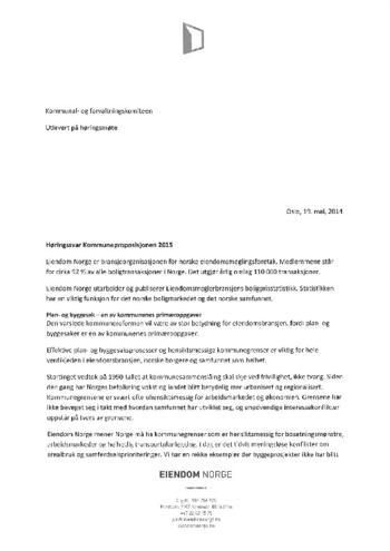 Høringssvar Kommuneproposisjonen