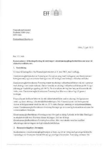 Høringssvar til endringer i eiendomsmeglingsforskriften om krav til sikkerhetsstillelse