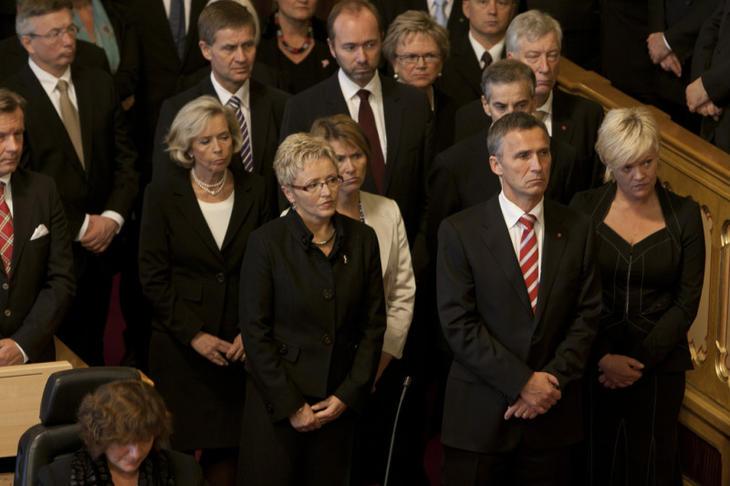 Regjeringen Stoltenberg II under åpningen av Stortinget i 2010. Foto: Stortinget.
