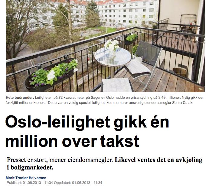 Boligpriser er hett stoff i avisene. Faksimile fra DN.no, mai 2013.
