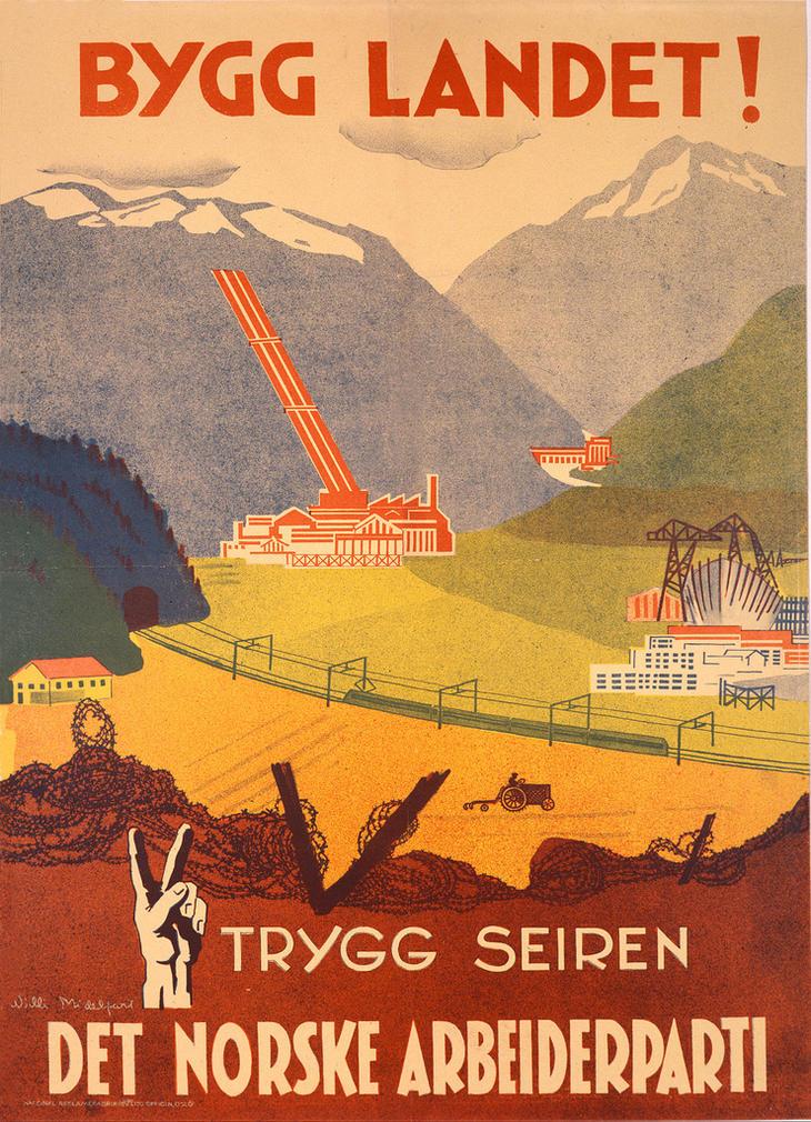 Arbeiderpartiets valgplakat fra 1945. Foto: Arbeiderpartiet.