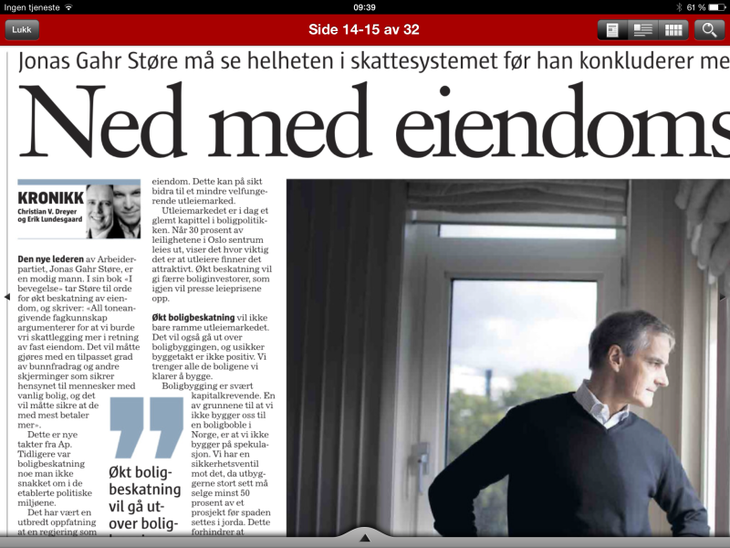 Faksimile fra Klassekampen 19 september, 2014.