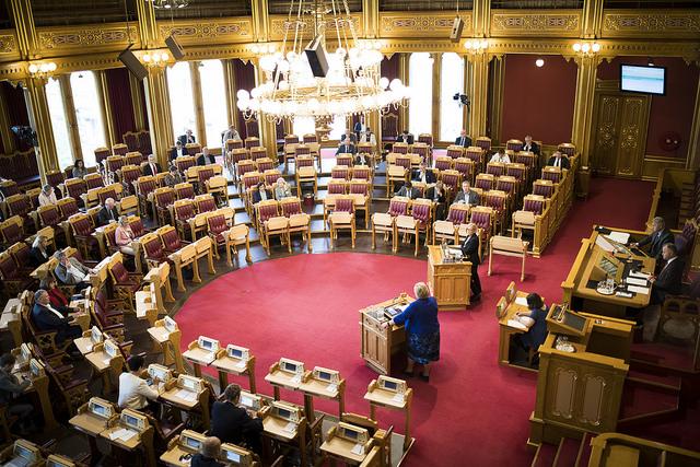 Stortinget stemte 12. juni 2018 ned et representantforslag fra Rødt, men et alternativt forslag om at regjeringen skal utrede franchisemodellen ble vedtatt. Foto: Stortinget.