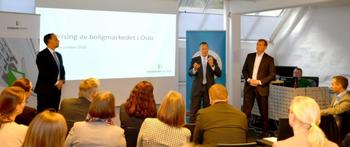 Statssekretær Tore Vamraak fra Finansdepartementet (midten) sa at det er godt å få lys på problemene. Christian Dreyer fra Eiendom Norge (tv) og Carl O. Geving fra NEF (th) er enige. (Foto: Peter Rånås, NEF).Foto: Peter Rånås/Nef.
