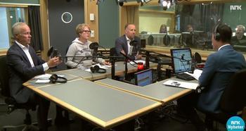 Skjermbilde Dagsnytt 18 den 4. august 2016. Fra venstre: Boligminister Jan Tore Sanner (H), Marianne Aasen (Ap) og Christian Vammervold Dreyer.
