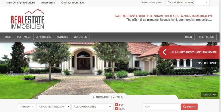Skjermdump fra nettstedet: http://realestate.immobilien/