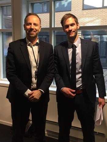 Fra høyre: Statssekretær Vidar Brein-Karlsen (Frp) og Eiendom Norges administrerende direktør Christian Vammervold Dreyer.