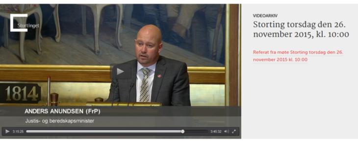 Skjembilde fra stortinget.no. Justisminister Anders Anundsen i debatten om forslaget om tryggere bolighandel.